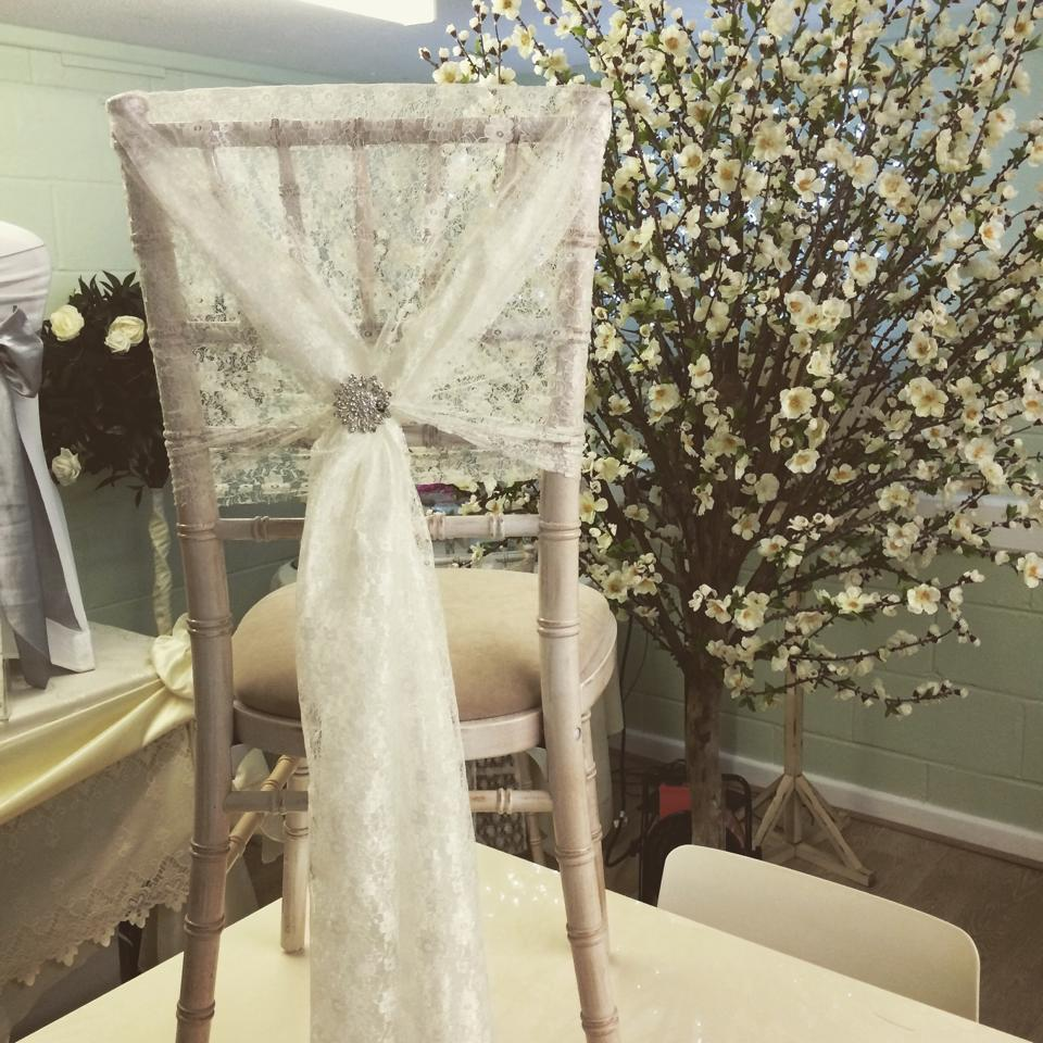 Chivari Chairs with lace hoods
